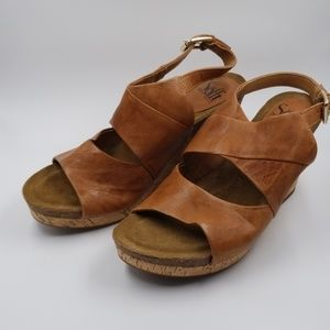 Nwob Sofft Leather Wedge Sandals Corrina 7.5